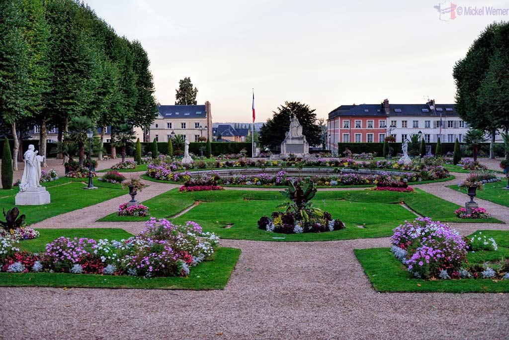 "Bishopric garden"" (Jardin de l'eveche) behind the Lisieux cathedral"