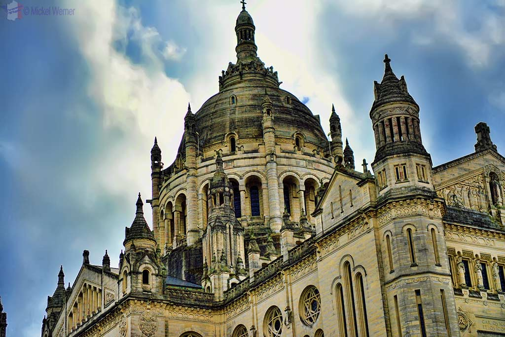 details of the Basilica of St. Therese in Lisieux, Normandy