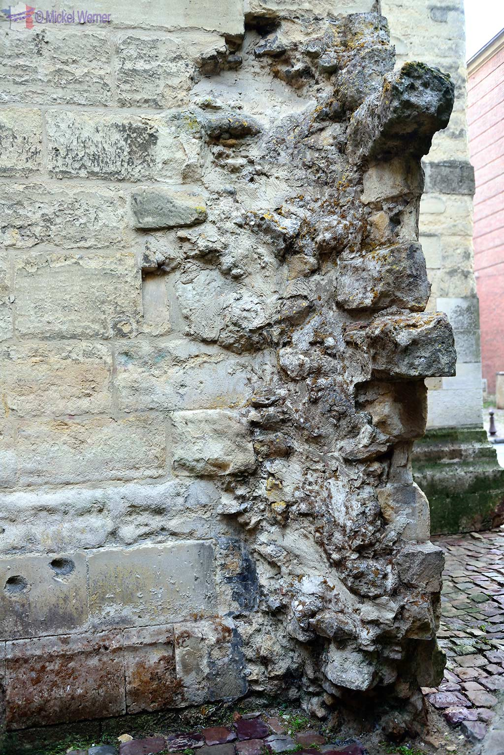 Broken walls of the Saint-Pierre cathedral of Lisieux, Normandy