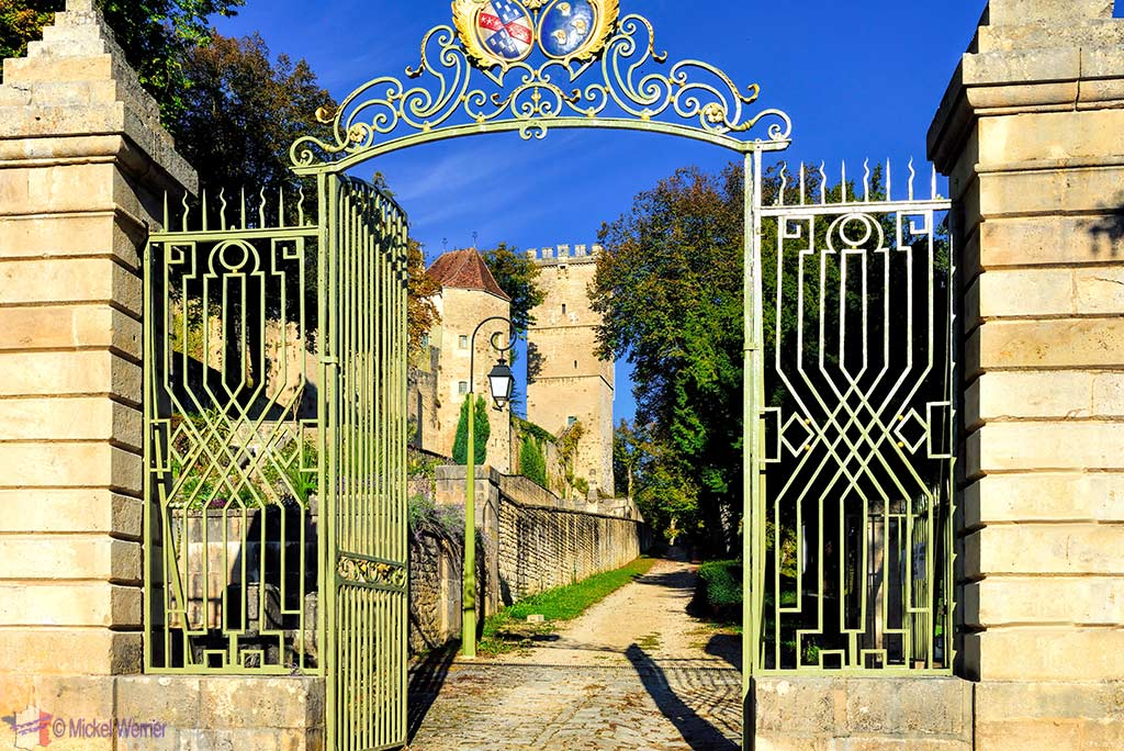 Gates to the Montbard Castle inside the Buffon Park in Burgundy
