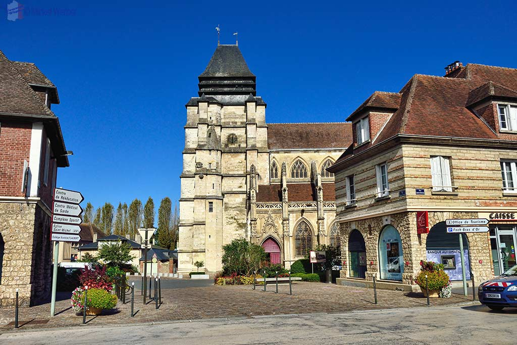 The Saint-Michel church from the main street in Pont L'Eveque, Normandy