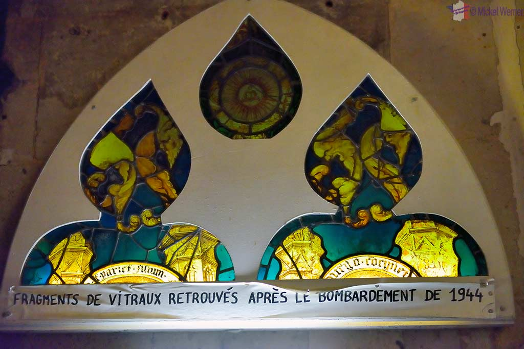 Old (former) stained glass pieces of the Saint-Michel church in Pont l'Eveque, Normandy