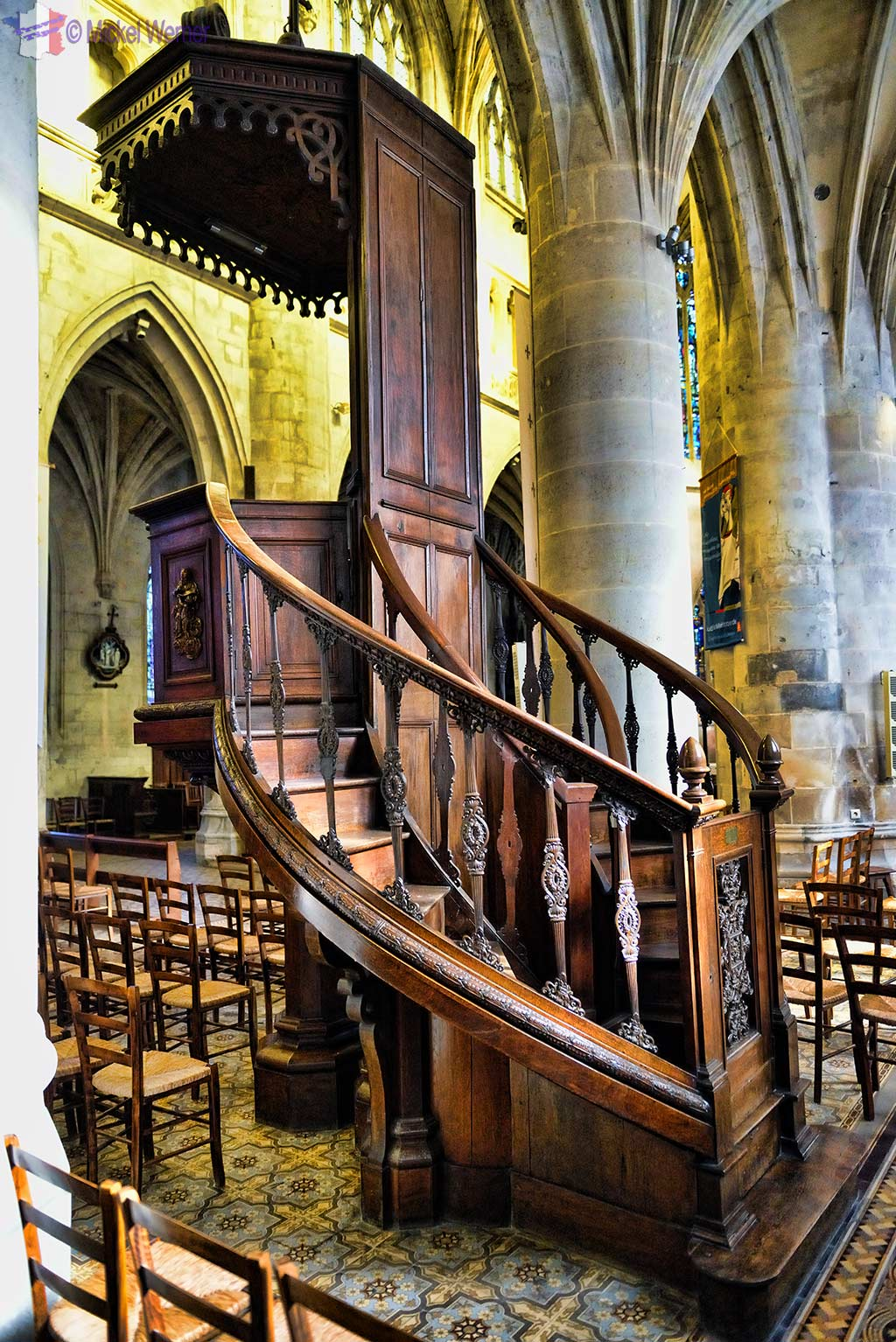 The pulpit of the Saint-Michel church in Pont l'Eveque, Normandy