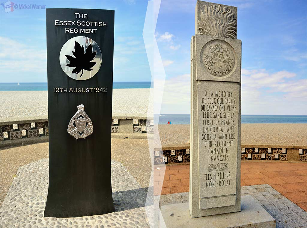 2 Memorials dedicated to the Canadians who died during WWII in Dieppe