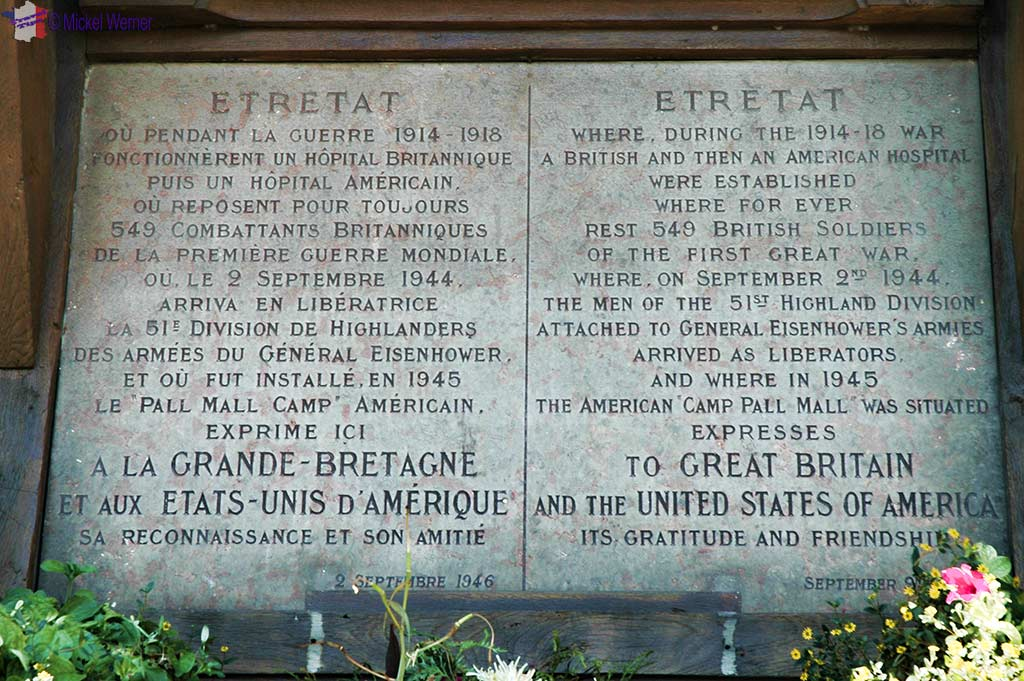 Memorial plaque at the entrance of the market in Etretat, Normandy