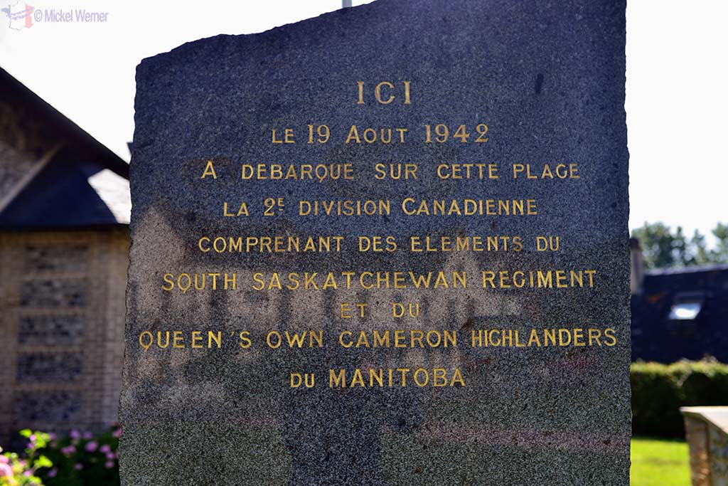 French WWII memorial at Hautot-sur-Mer to the Canadians