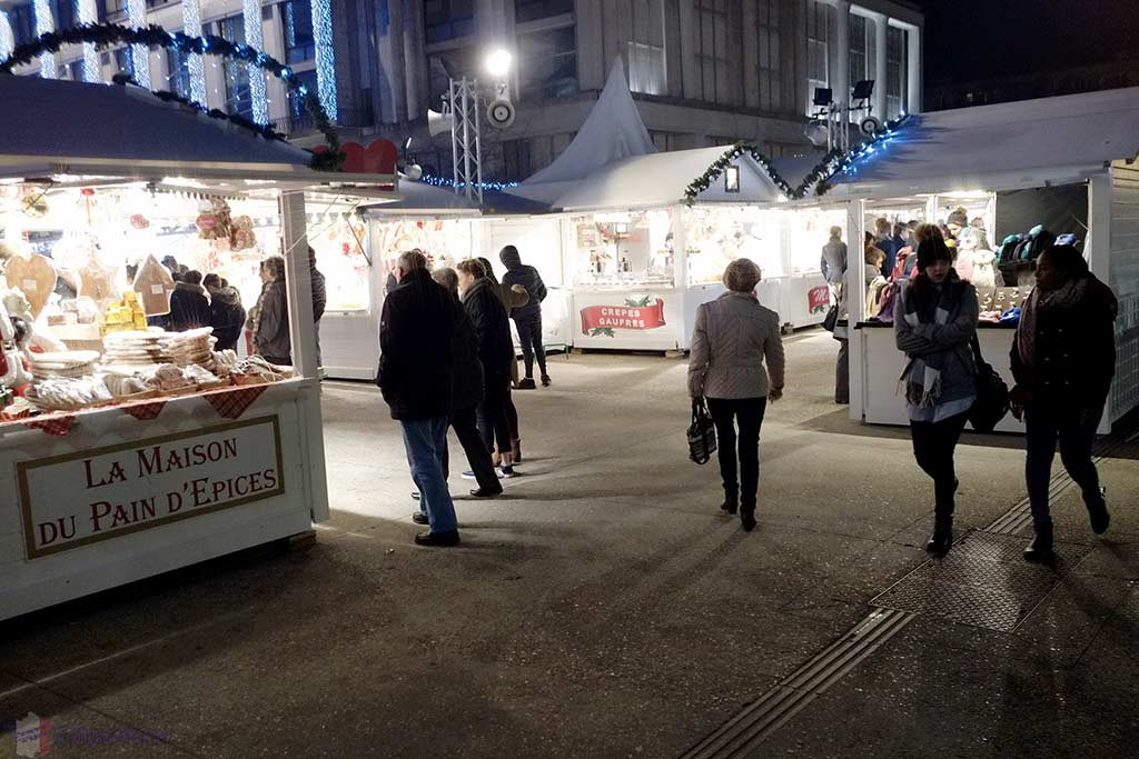 Christmas stalls/huts on front of the Mairie of Le Havre, Normandy