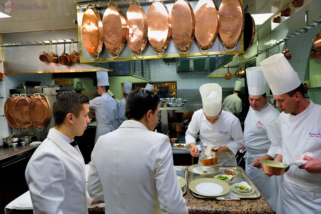 Christophe Muller (2nd on right) in the Paul Bocuse kitchen