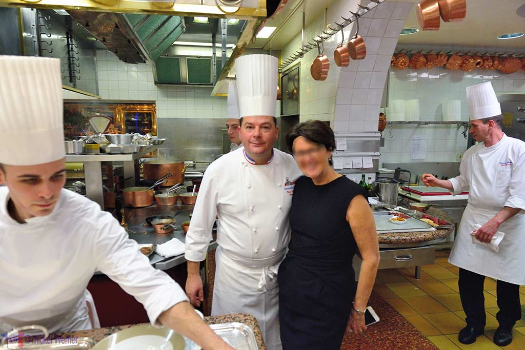 Photo wth the top chef Christophe Muller in the Paul Bocuse kitchen