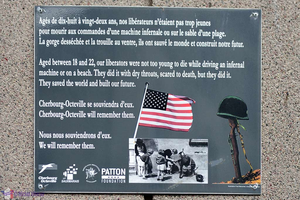 Sign thanking the US Army for liberating Cherbourg