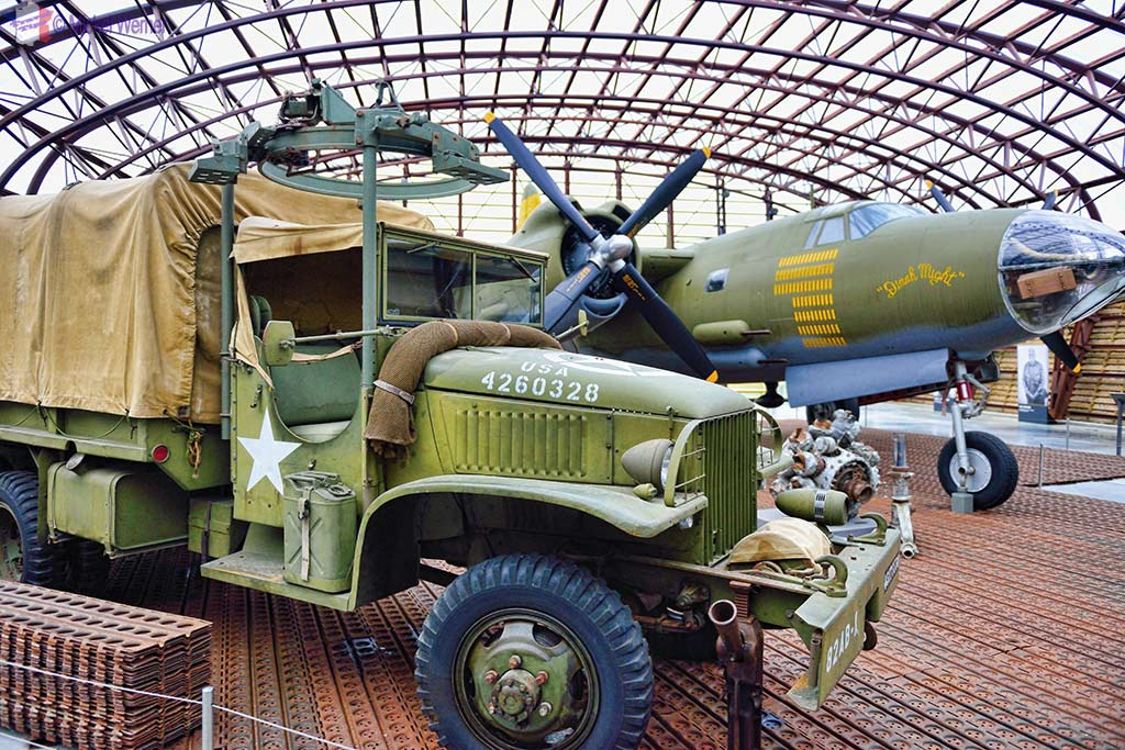Truck and B-26 bomber airplane at the Utah Beach Landing museum