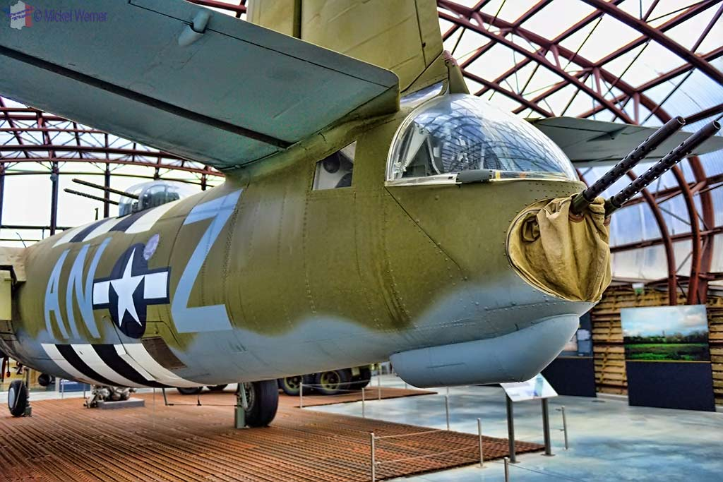 Tail gunner of the B-26 bomber airplane at the Utah Beach Landing museum