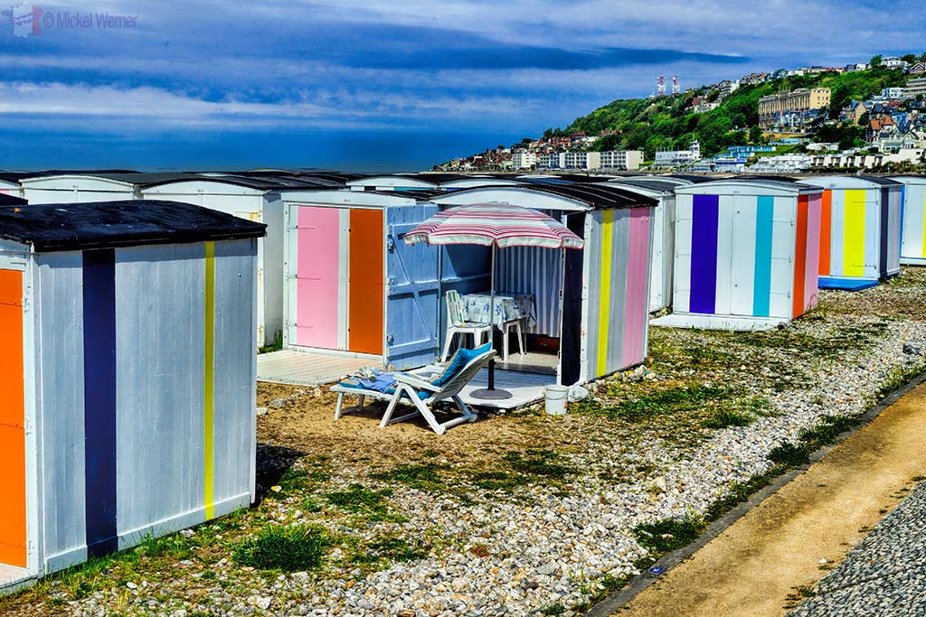 The Le Havre beach huts all received different coloured coats of paint for the 500 years celebrations