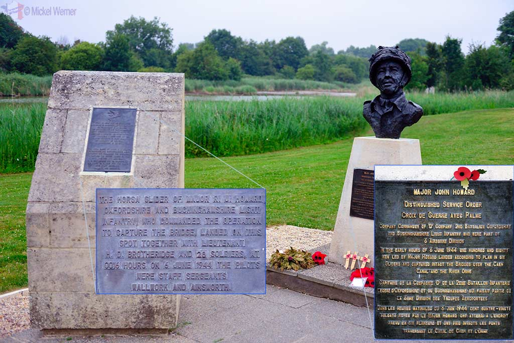 Memorial and Major John Howard statue at Pegasus Bridge