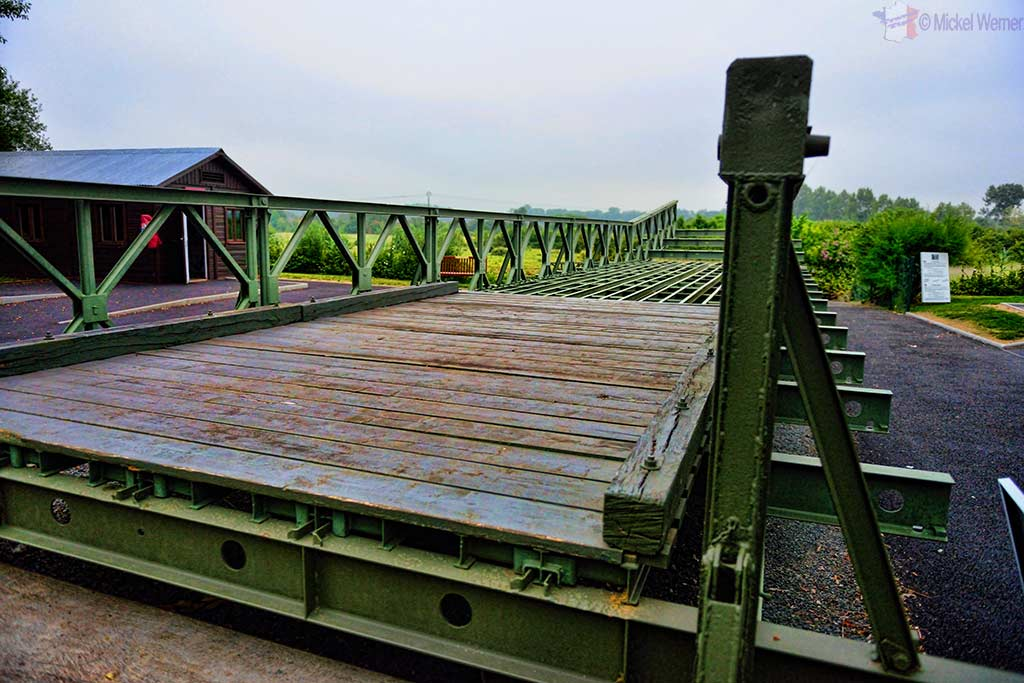 An original Bailey bridge that was moved to the Pegasus Memorial