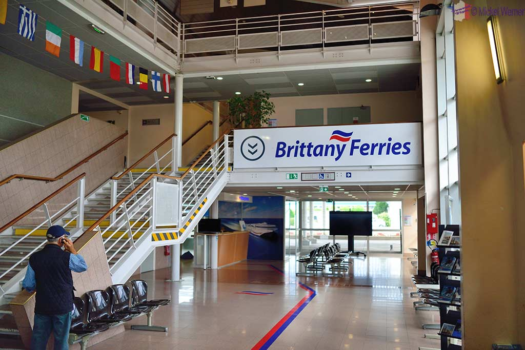Inside the ferry terminal building of Le Havre