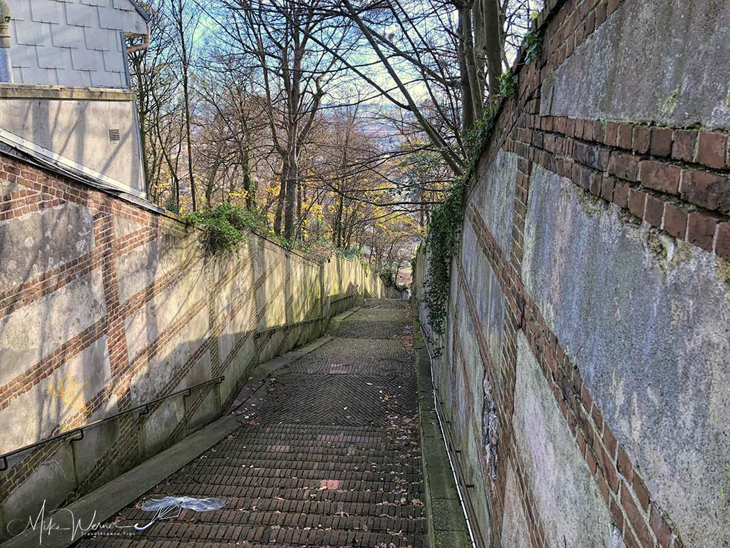 "The top end of the ""Escalier de Tourneville"" that brings you from/to the ex-military fort into the city centre in Le Havre, Normandy"
