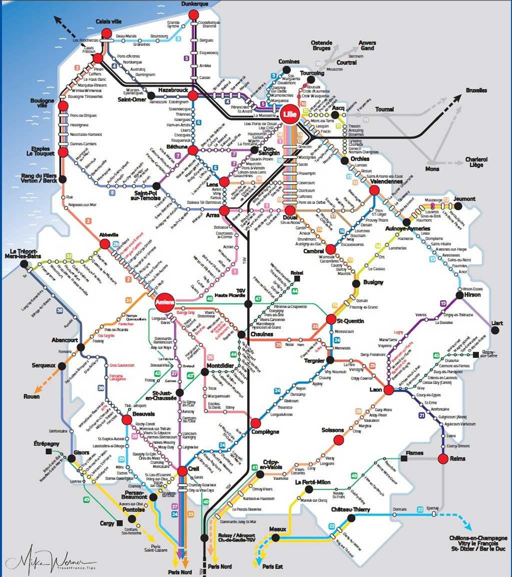 Upper France region TER train map