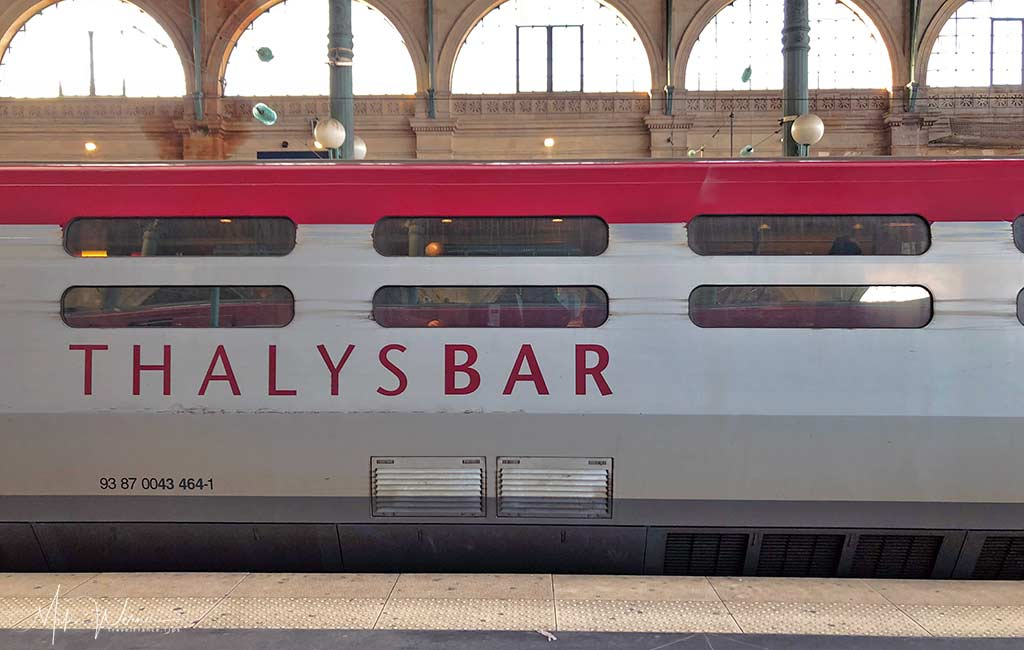 Bar/Restauration car on the Thalys High Speed Train, TGV.