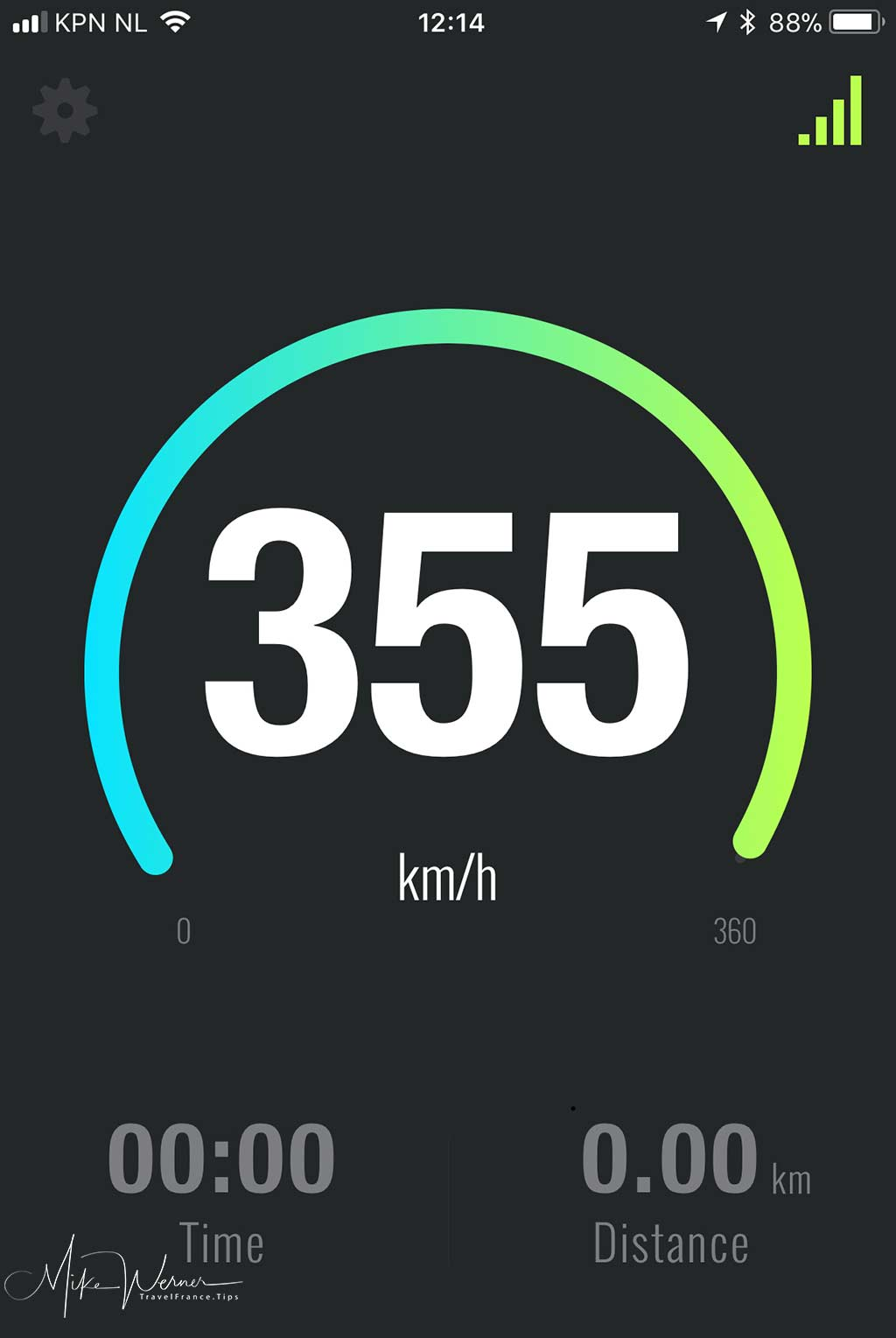 GPS speed captured on a recent trip Paris-Amsterdam