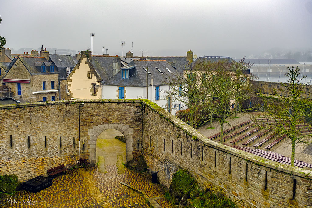 Open air theatre and ferry terminal in the walled city/town of Concarneau