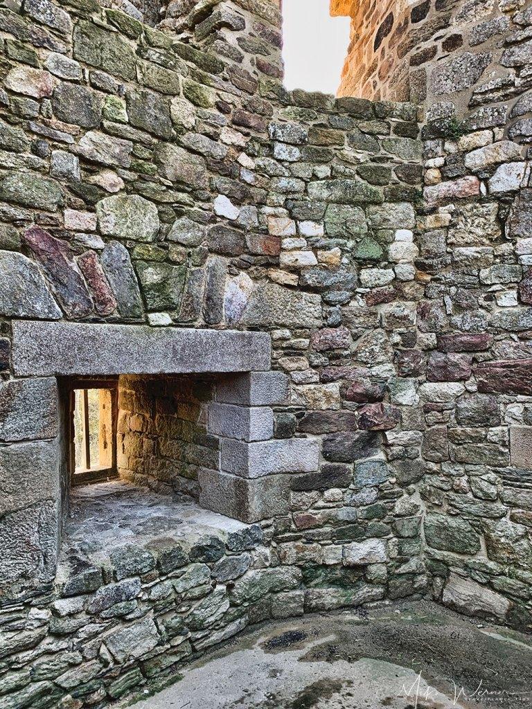 Destroyed insides of the Guildo Fortress ruins in Saint-Jacut-de-la-Mer.