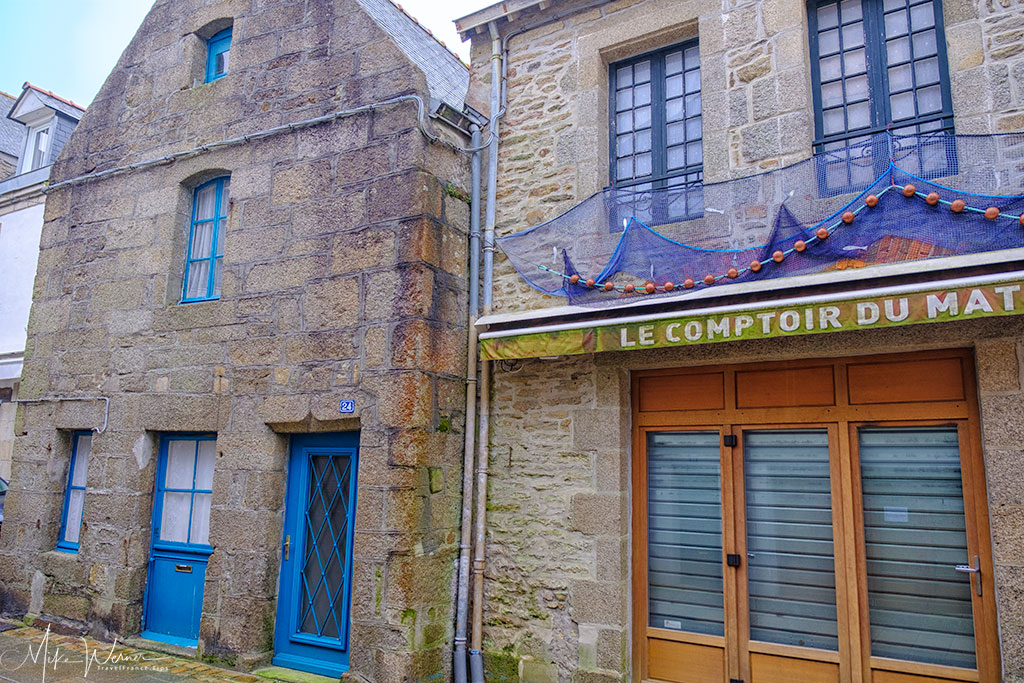 Old style shops in the walled city of Concarneau