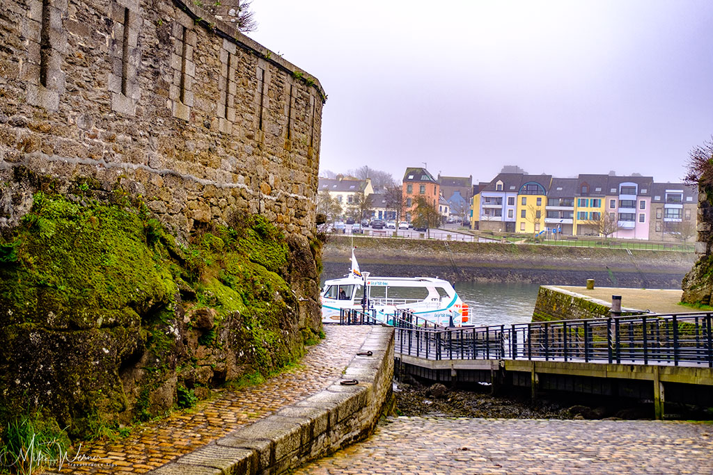 Moored ferry (Bac) from walled city of Concarneau