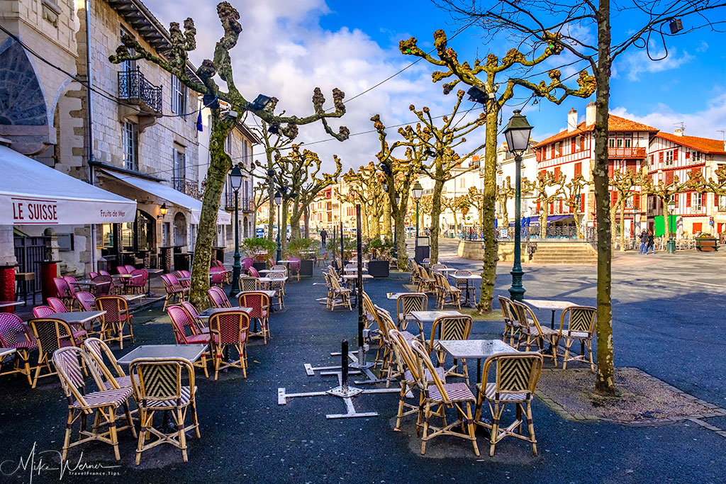 Terraces and cafes along many of the streets in St-Jean-de-Luz