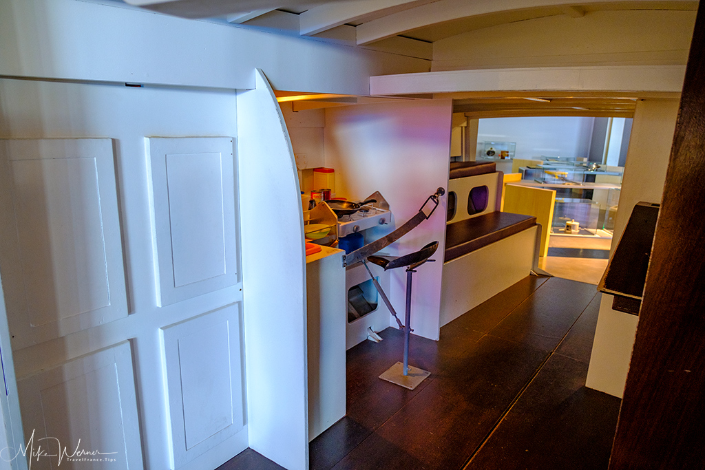 The mockup of Eric Tabarly's cabin on one of his sailboats at the Cite de la Voile Eric Tabarly museum
