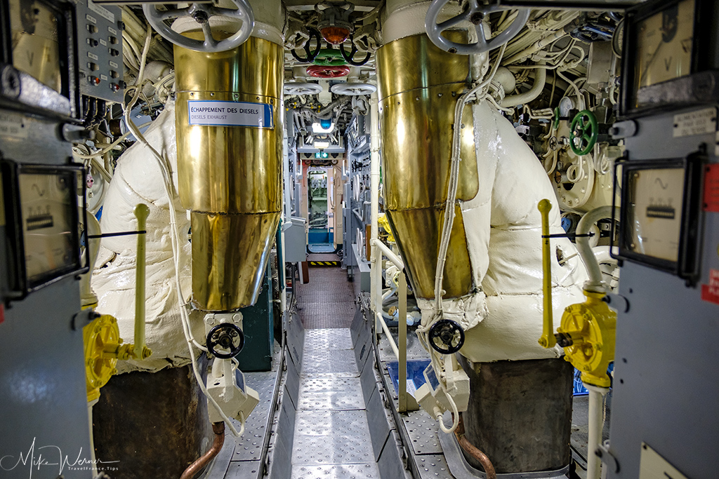 The narrow corridors in the Flore submarine