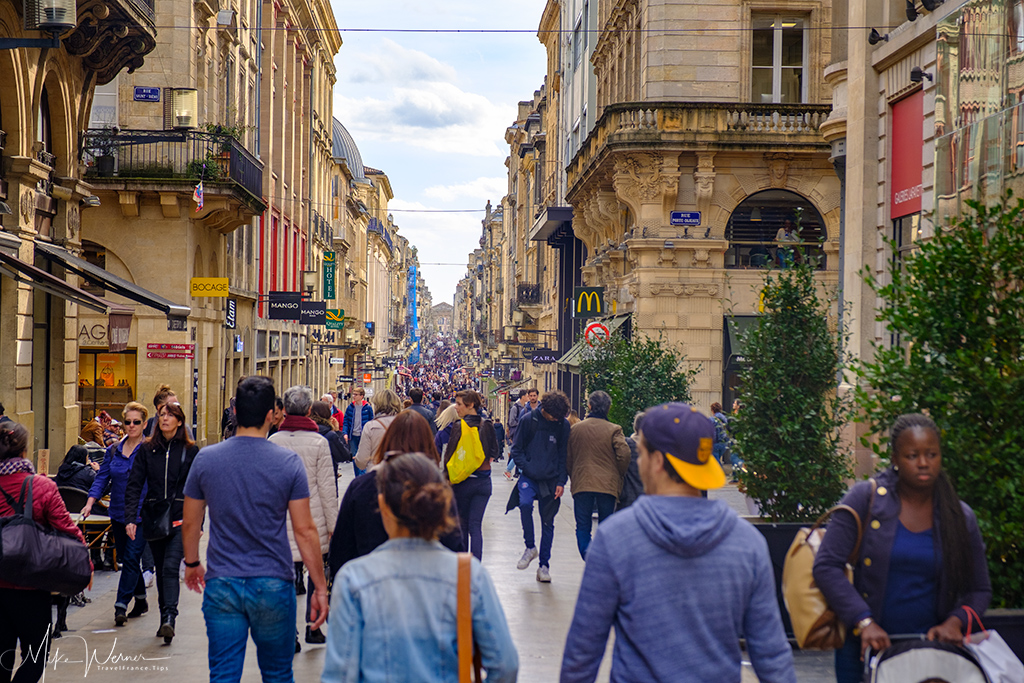 Shops in pedestrian street in Bordeaux