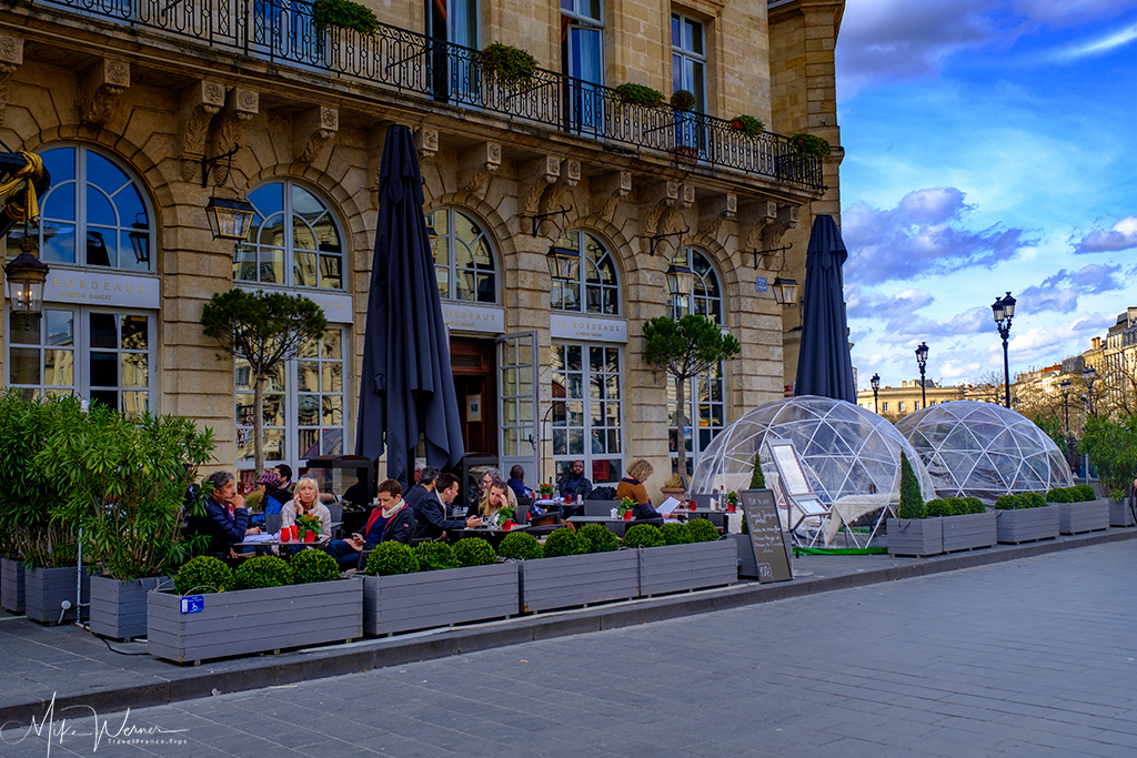 The 'Le Bordeaux Gordon Ramsay' restaurant and terraces in the InterContinental hotel in Bordeaux
