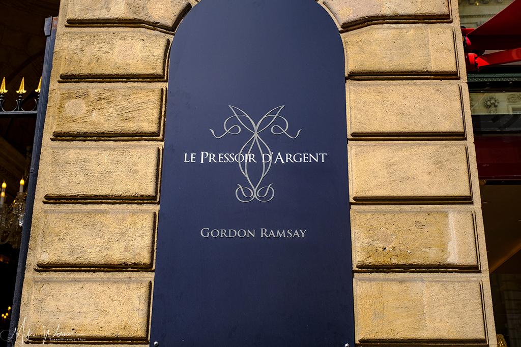 Le Pressoir d'Argent restaurant of Gordon Ramsay in Bordeaux