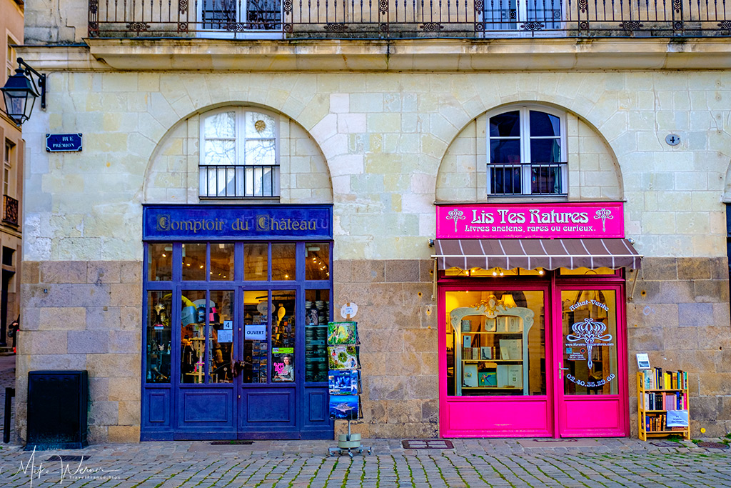 Colorful shop fronts in Nantes