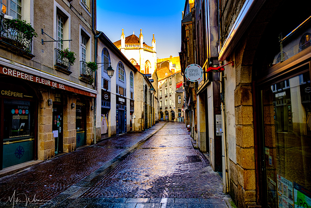 Small cobblestone street in city centre of Nantes
