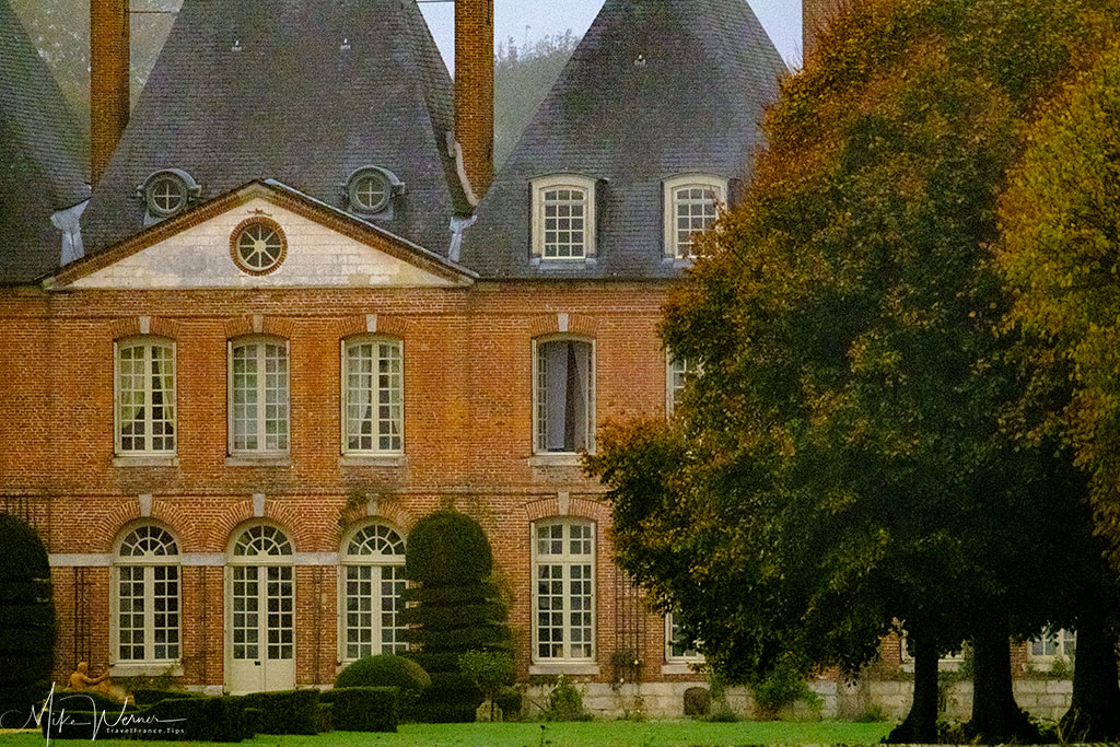 Main building of the Mesnil-Geoffroy castle in Normandy