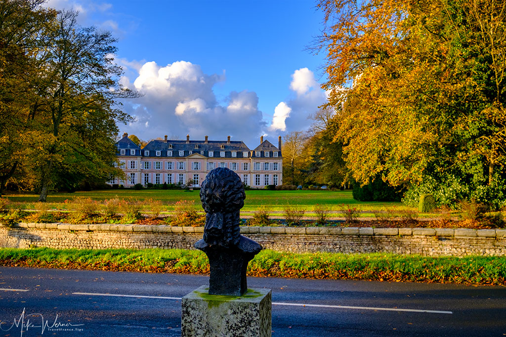 The bust of the Empress Sissi is watching over the Sissi castle in Sassetot-le-Mauconduit in Normandy