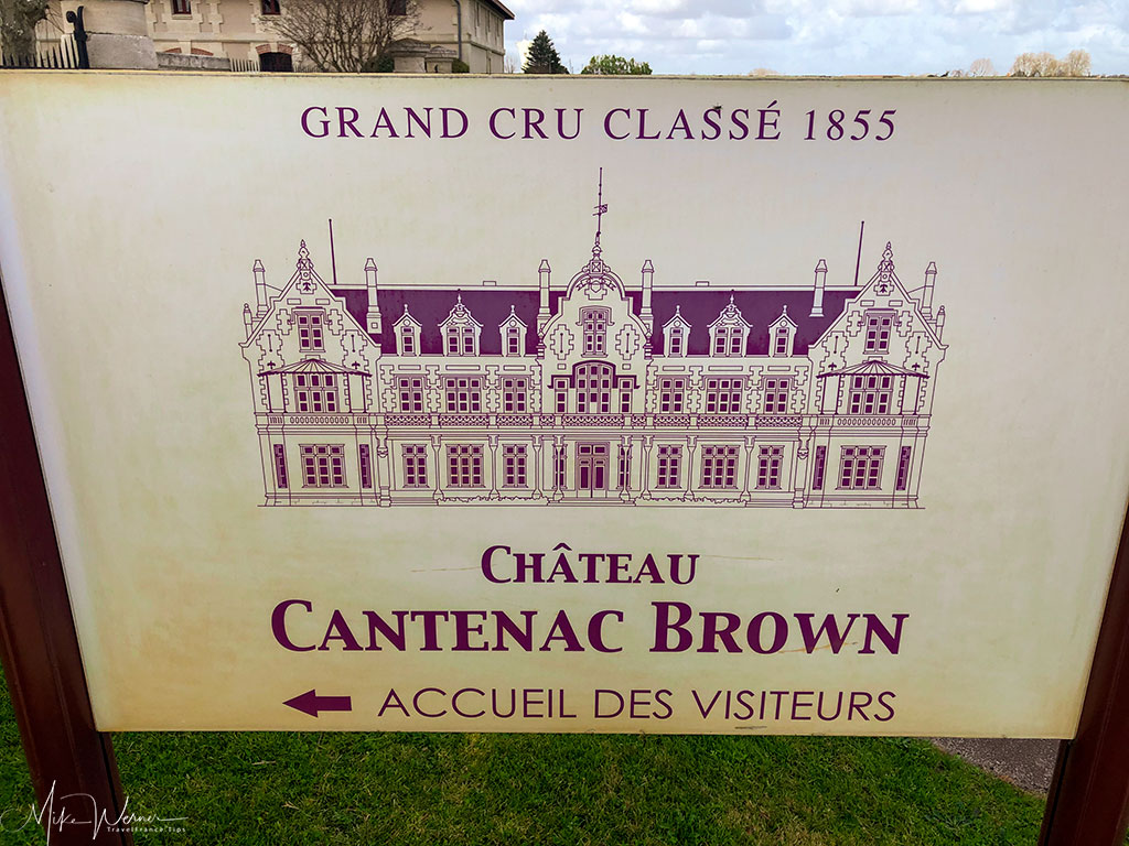 Sign of the winery Chateau Cantenac Brown at Margaux-Cantenac