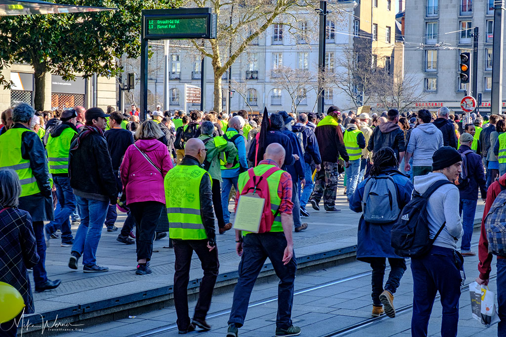 French Gilets Jaunes (Yellow Vests) protests in the streets of Nantes
