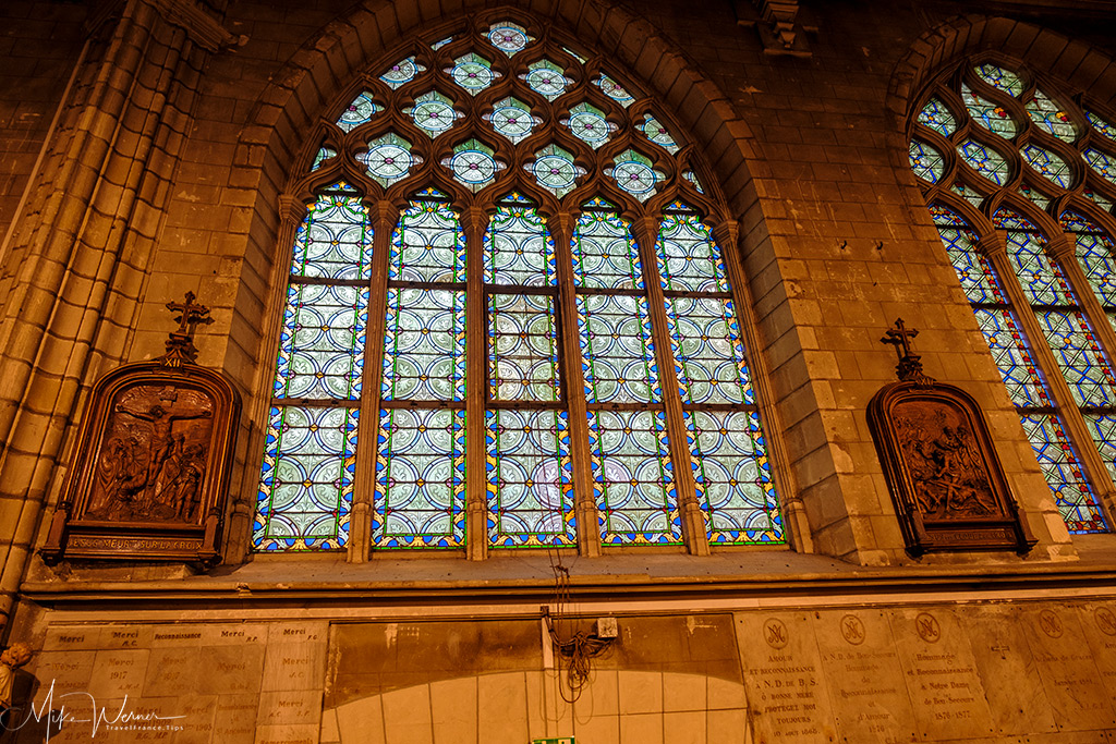 Stained glass windows of the Sainte-Croix church in Nantes