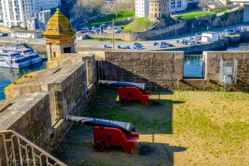 Cannons overlooking the water inside the Brest Castle/Fortress in Brittany