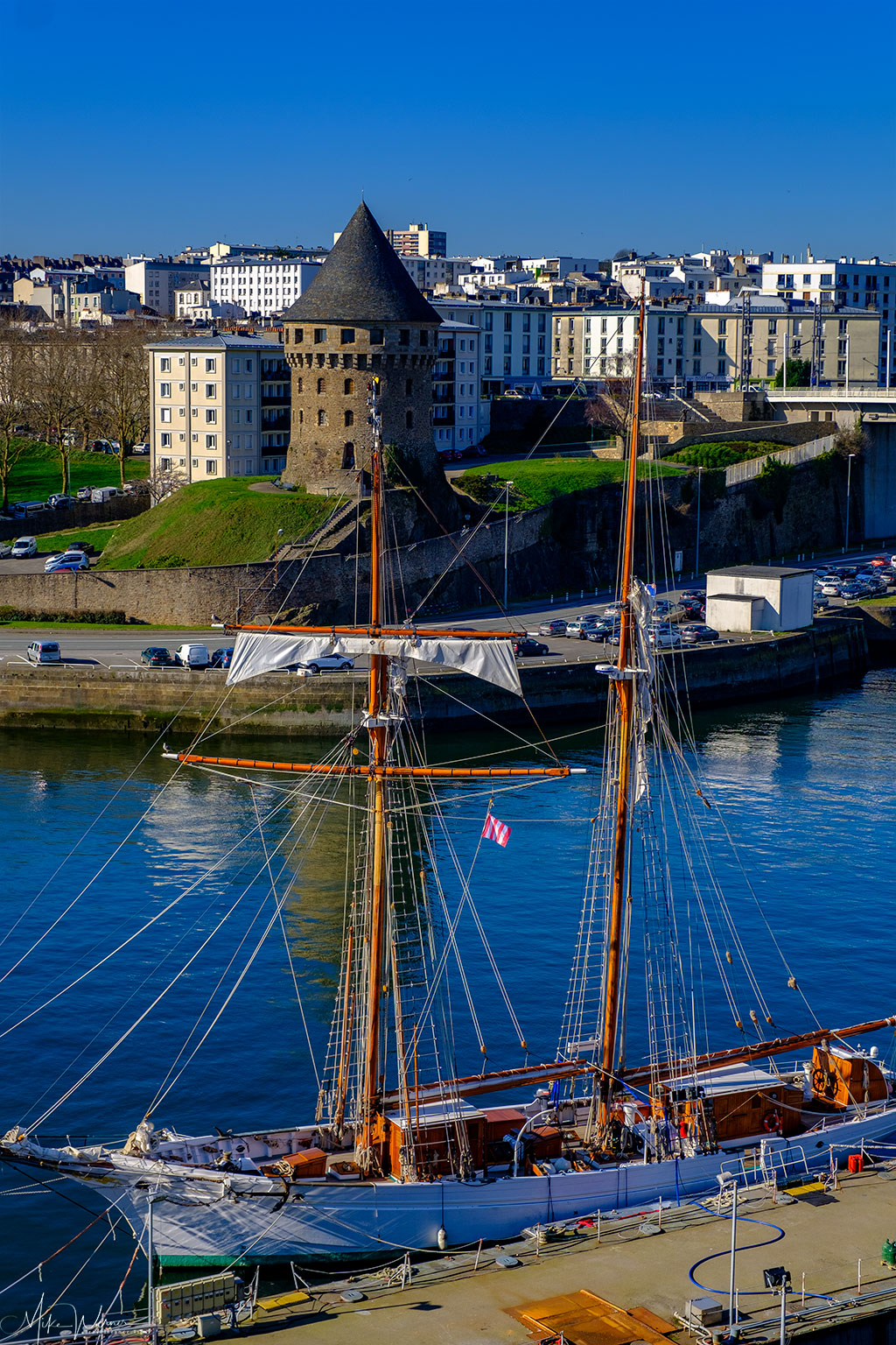 Tour Tanguy and a tall ship as seen from the Brest Castle/Fortress in Brittany
