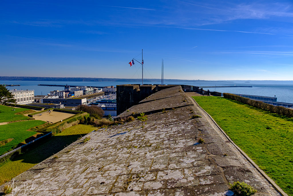 The ocean in the distance seen from the Brest Fortress/Castle in Brittany