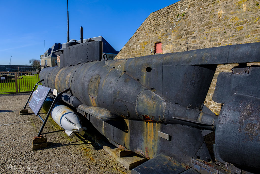 Rear view of a German WWII midget submarine (Seehund) as seen at the French Navy National Museum in the Brest Castle in Brittany