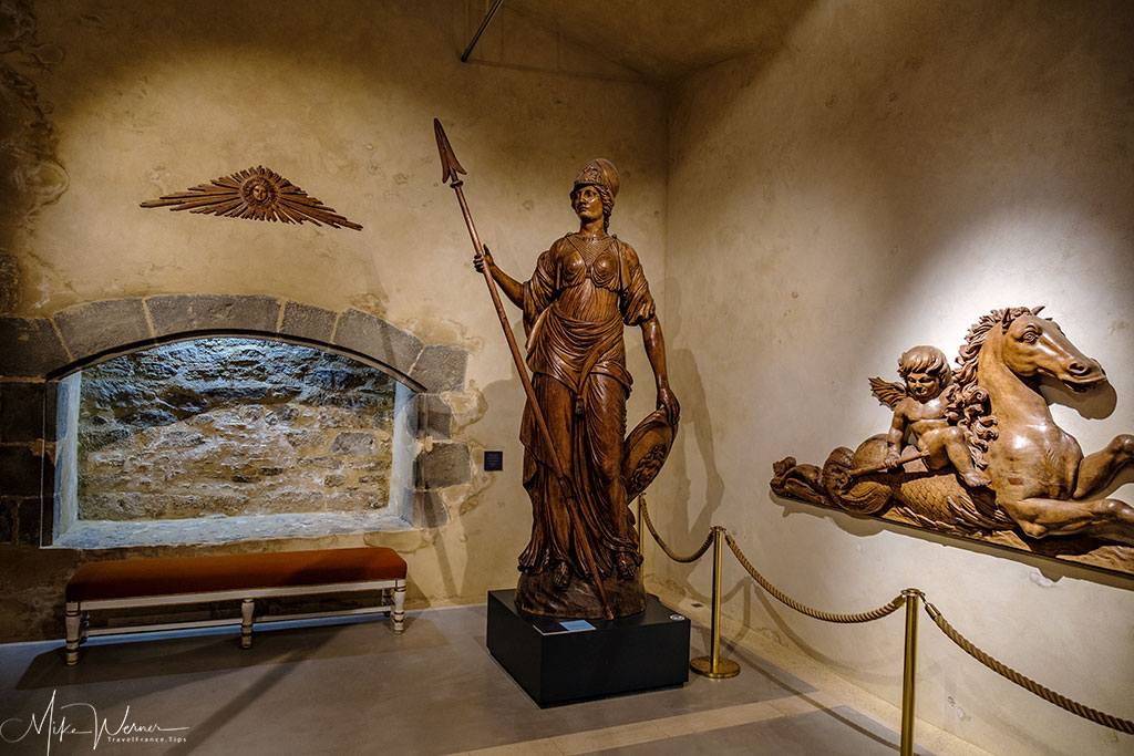 Wooden statue shown in the French Navy National Museum inside the Brest Castle