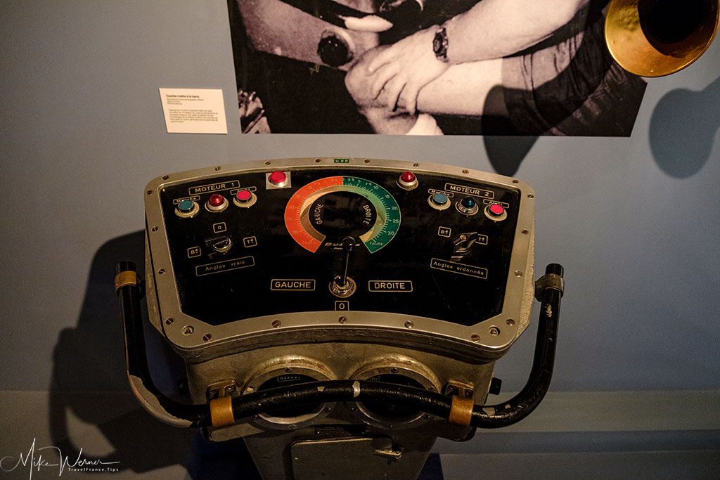 Engine control of a French Navy vessel shown in the French Navy National Museum inside the Brest Castle
