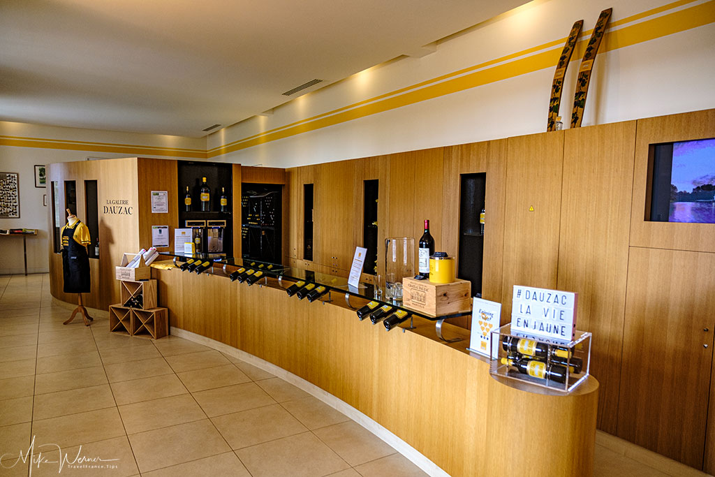 Inside the sales shop of Chateau Dauzac at Labarde in the Margaux region