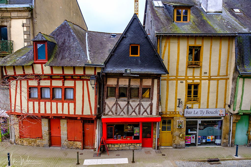 Bar and shops in wooden houses in Vannes, Brittany