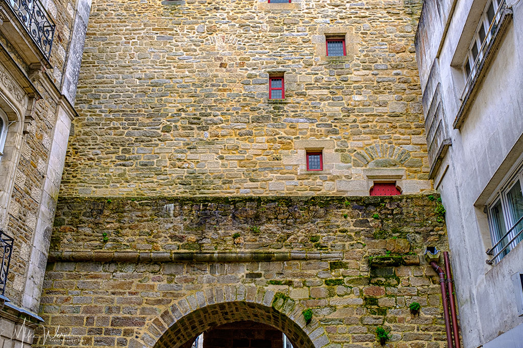 Closeup of the Prison Gate (Porte Prison) alongside the ramparts of Vannes